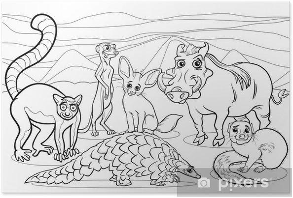 Kleurplaten Dieren Afrika.Poster Afrikaanse Dieren Cartoon Kleurplaat Pixers We Leven Om