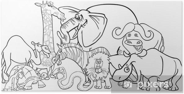 Poster Afrikaanse safari dieren cartoon voor het kleuren - Zoogdieren