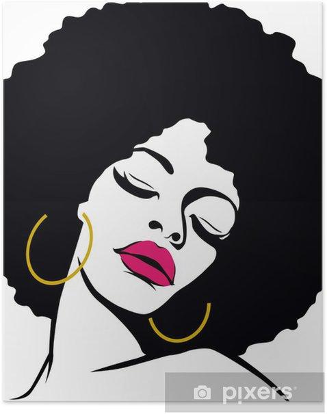 afro hair hippie woman pop art Poster - Themes