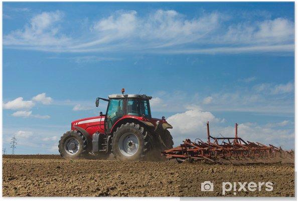 Poster Agriculteur labourant le terrain. Tracteur et charrue - Agriculture
