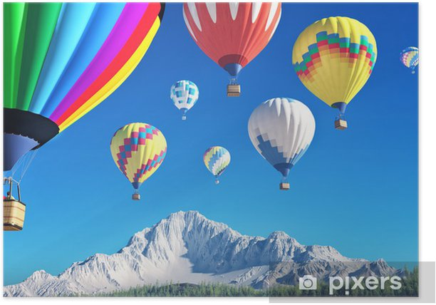 air baloons Poster - Mountains