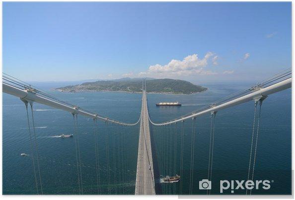 Poster Akashi Kaikyo Bridge avec plus longue durée de centrale dans le monde - Thèmes