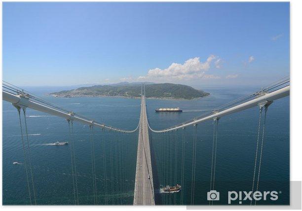 Póster Akashi Kaikyo Bridge con tramo más largo Central en el Mundo - Temas