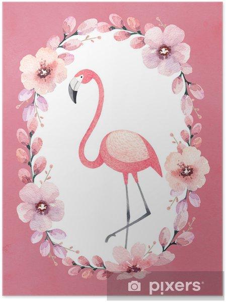 Poster Akvarell illustration av en flamingo. perfekt för hälsningskort - Djur