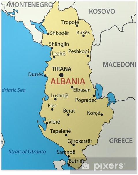 Poster Albanien Vektor Karta Pixers Vi Lever For Forandring