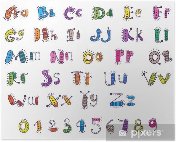 Poster Alfabeto De Dibujos Animados De Colores Con Numeros Para