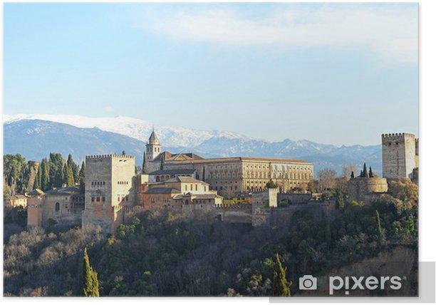 Poster Alhambra à Grenade, la Sierra Nevada, en Andalousie, Espagne - Europe