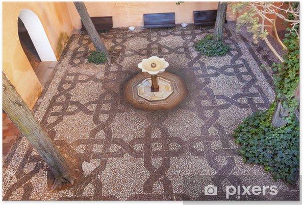 Poster Alhambra Fontaine mosaïque jardin Grenade Andalousie Espagne - Monuments