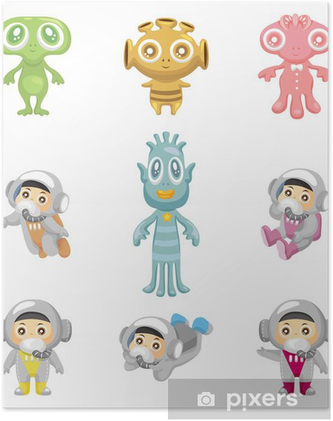 alien and astronaut icons Poster - Happiness