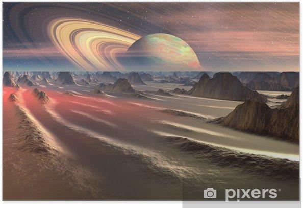 Poster Alien Planet - 3D, rendu illustration d'ordinateur - Espace