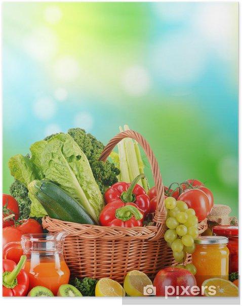Poster Alimentation équilibrée à base de légumes crus et biologiques - Légumes