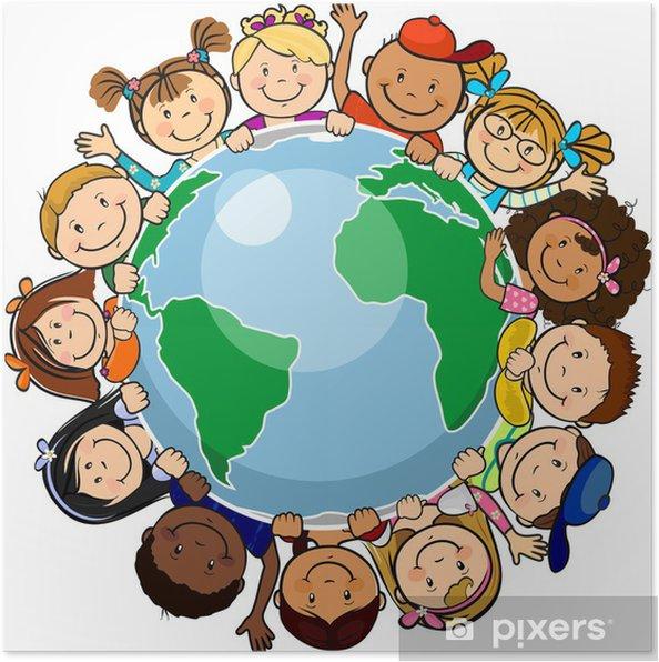 Poster Allemaal verenigd in de wereld - Muursticker