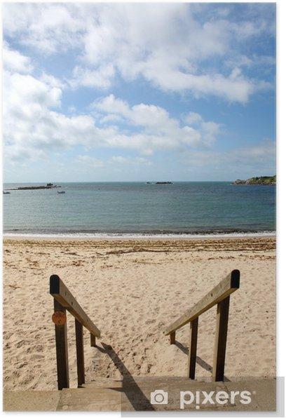 Poster Aller à la plage Porthcressa, St. Mary, îles de Scilly. - Thèmes