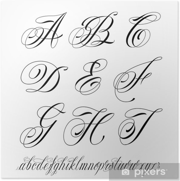 Étonnant Poster Alphabet de style de tatouage • Pixers® - Nous vivons pour DY-85