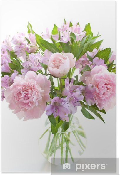 Alstroemeria and peony Poster - Happiness