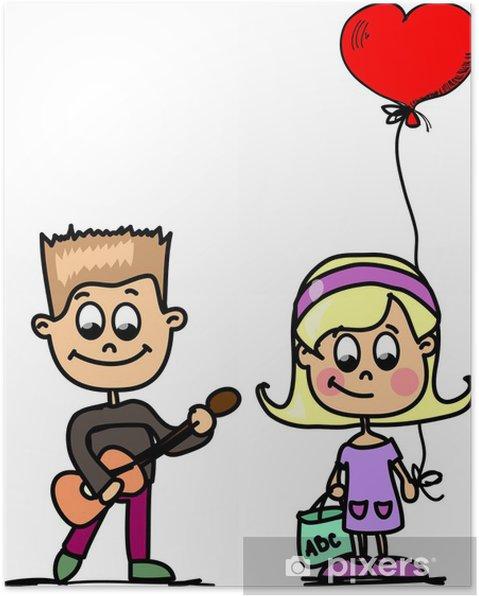 61995f9362b58a Poster Amateur meisje en jongen vector achtergrond • Pixers® - We ...
