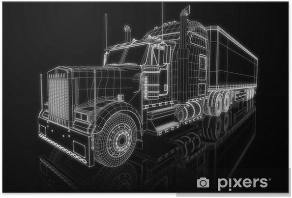 Poster Amerikaanse Truck - perspectief 3d bouw - Onderweg
