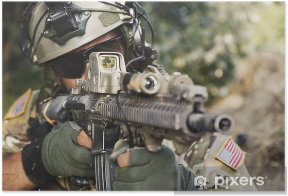Poster Amerikansk soldat pekar sitt gevär - Militär