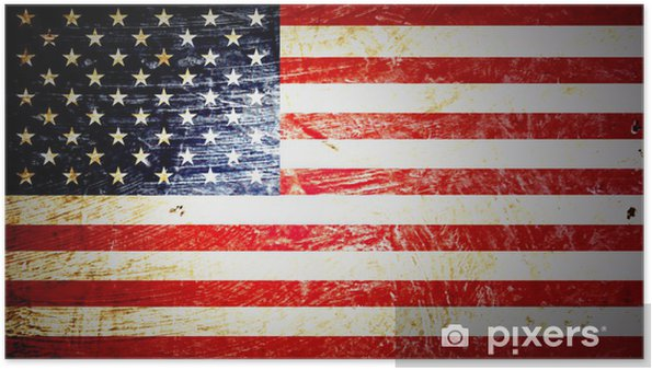 Poster Amerikanska flaggan - Teman
