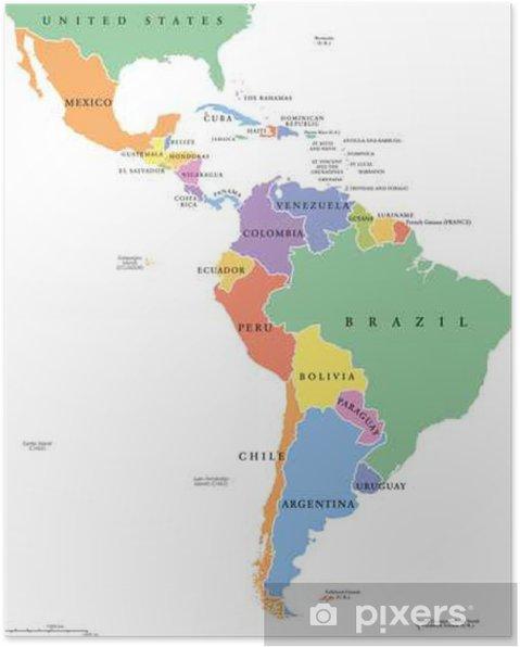Carte Damerique Du Sud Avec Les Pays.Poster Amerique Latine Declare Seule Carte Politique Les Pays De