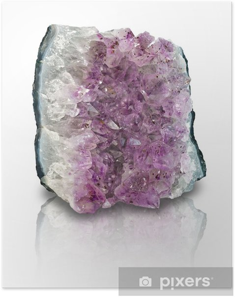 Amethyst geode slab isolated Poster - Esoteric