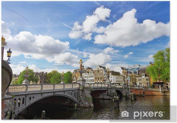 Poster Amsterdam avec canal dans le centre-ville, en Hollande. - Monuments