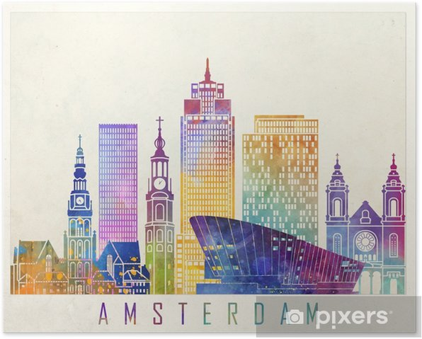 Amsterdam landmarks watercolor poster Poster - Landscapes