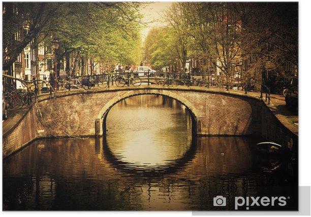 Amsterdam. Romantic bridge over canal. Poster - Themes
