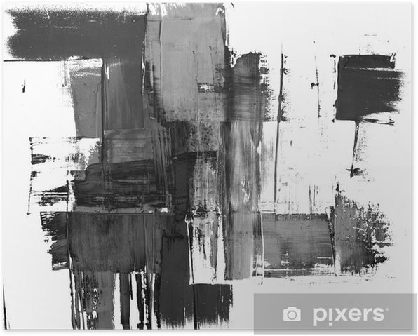 An abstract paint splatter frame in black and white Poster - Styles