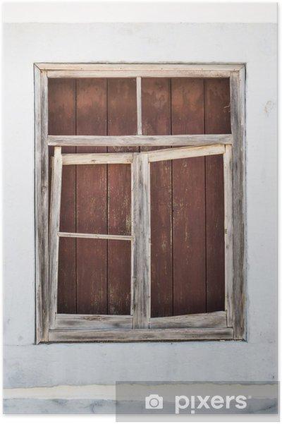 Poster Ancien Cadre De La Fenêtre En Bois Monté à Bord Pixers