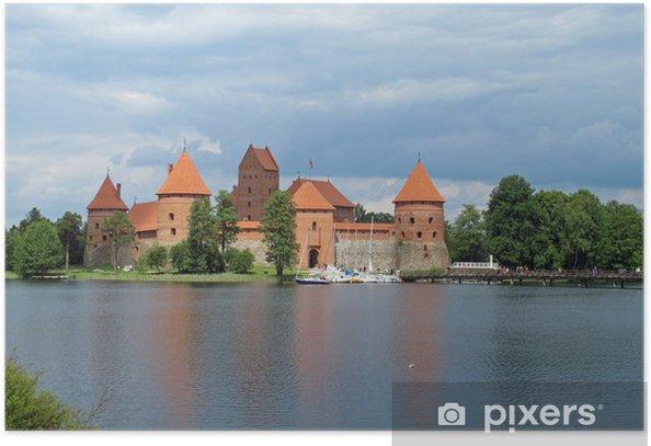 Poster Ancien château qui se reflète sur le lac en Lituanie - Europe