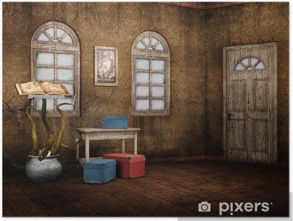 Poster Ancienne chambre avec un livre de sorts