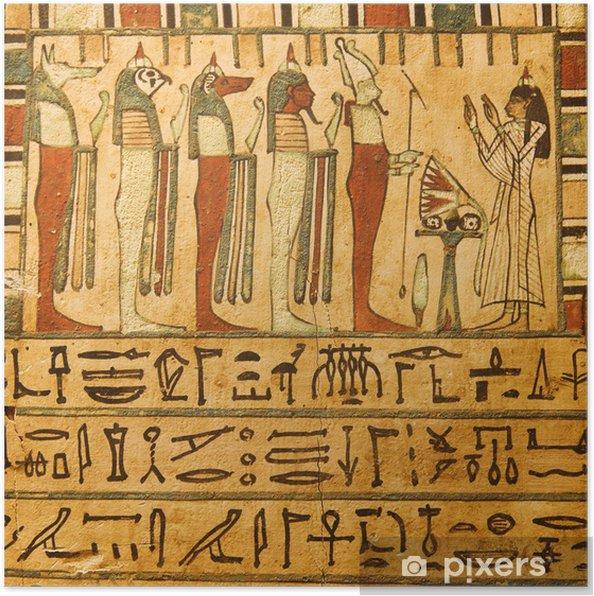 Poster Anciens dieux égyptiens et les hiéroglyphes peints sur la pierre - iStaging