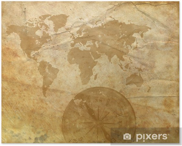 Ancient map of the world  Compass Poster