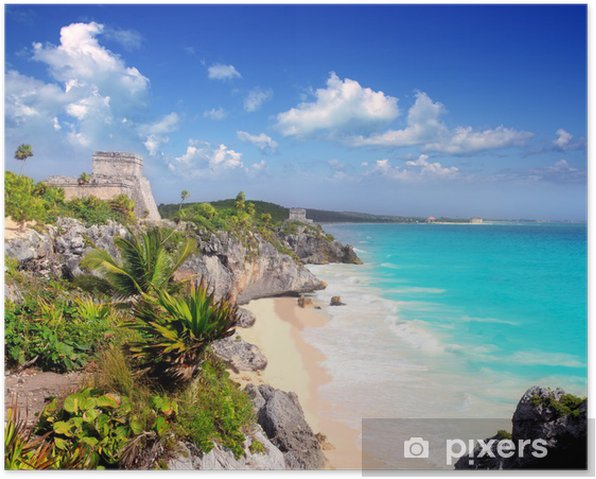 ancient Mayan ruins Tulum Caribbean turquoise Poster - Themes