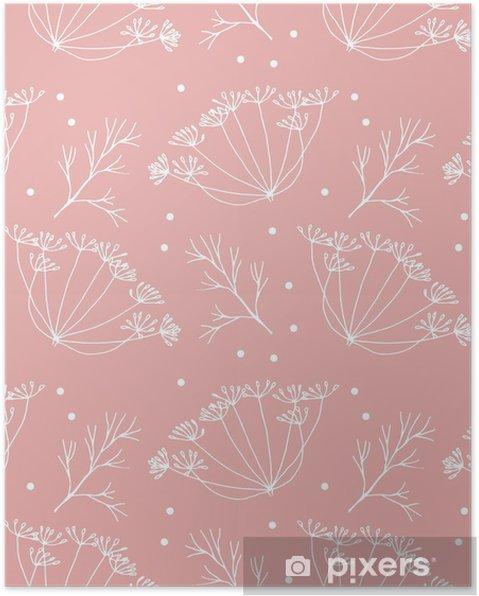 Poster Aneth ou fenouil fleurs et feuilles de motif. - Plantes et fleurs