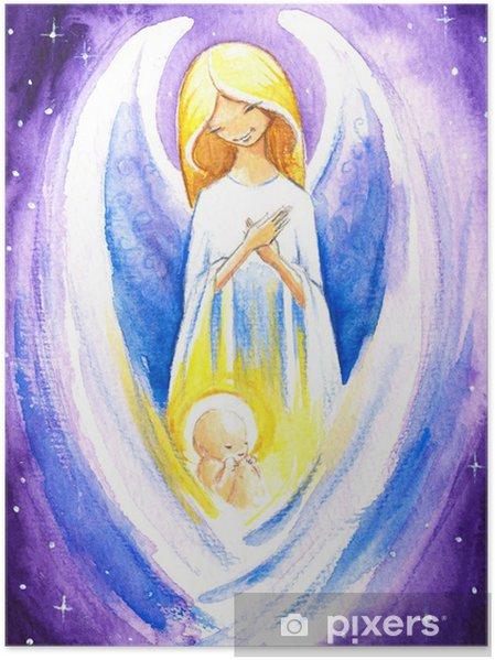 Poster Ange protéger un bébé Jesus.Watercolors. - Thèmes