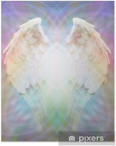 Angel Wings on multicolored matrix web Poster - Themes