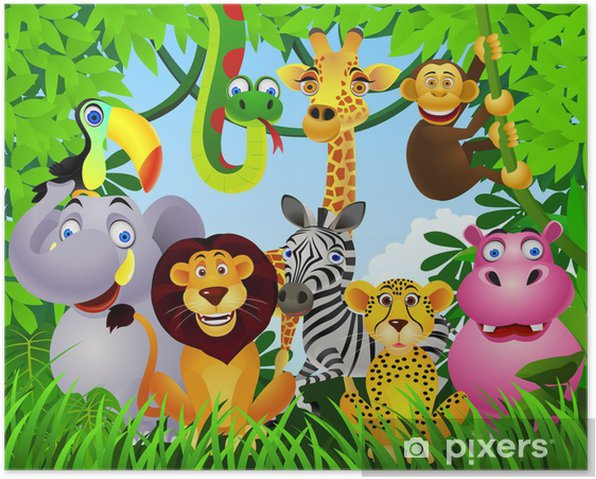 Poster Animal cartoon - Pour enfant de 5 ans