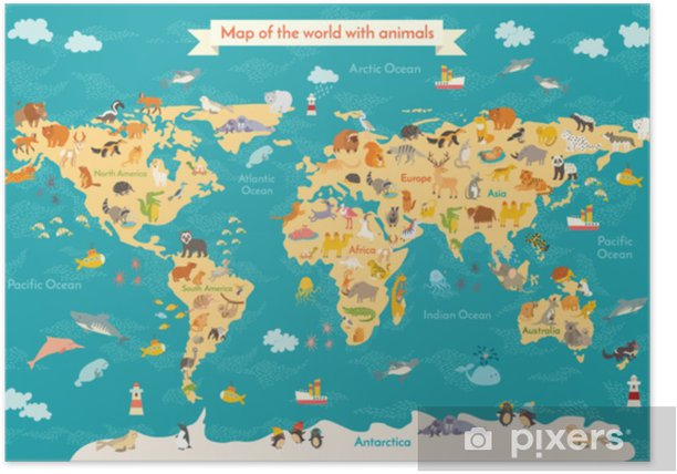 World Map With Australia.Animal Map For Kid World Vector Poster For Children Cute Illustrated Preschool Cartoon Globe With Animals Oceans And Continent South