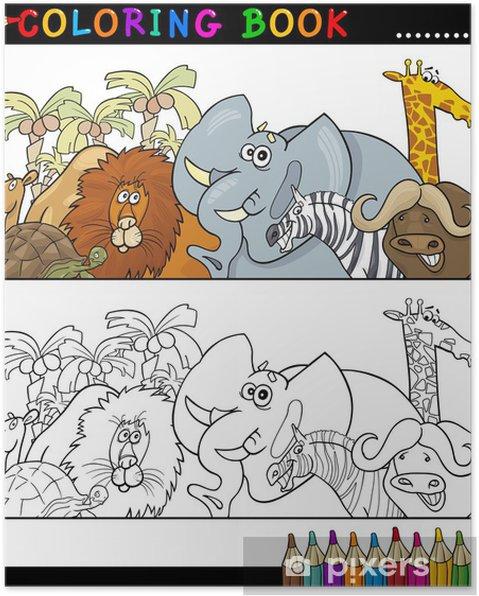Póster Animales Salvajes Safari para colorear • Pixers® - Vivimos ...