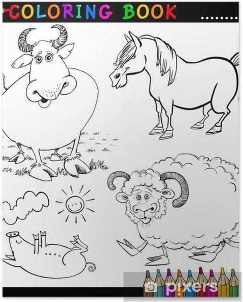 Animaux De La Ferme Pour Coloriage.Poster Animaux De La Ferme Pour Livre De Coloriage Ou La Page