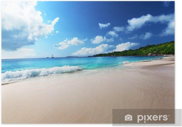 Anse Lazio beach at Praslin island, Seychelles Poster - Water
