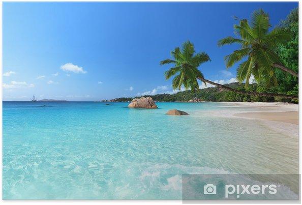 Poster Anse Lazio strand op Praslin island, Seychellen - Palmbomen