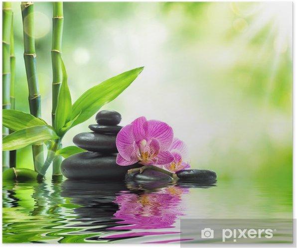 Póster Antecedentes spa - orquídeas piedras negras y bambú en agua - Temas