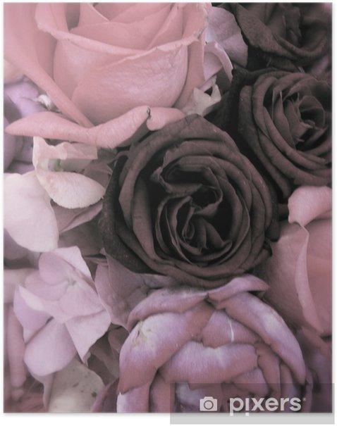 Poster Antieke boeket van roze rozen en pioenen - Gelukkig