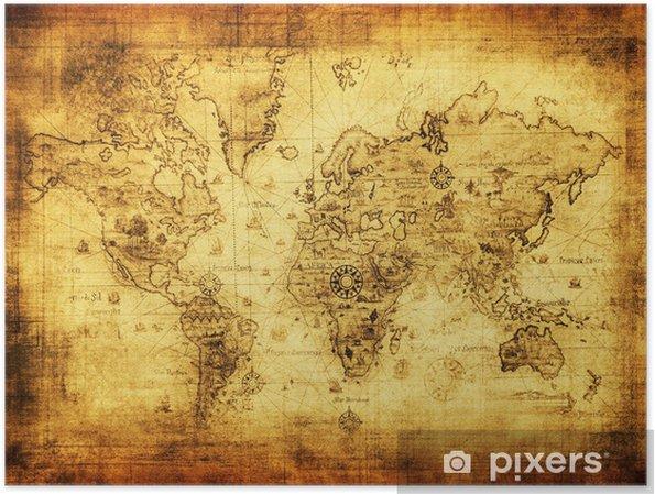 Póster Antiguo mapa del mundo. -