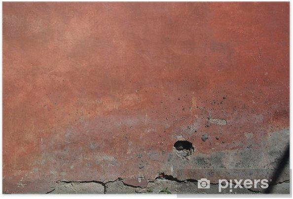 Póster Antiguo muro rojo - Texturas