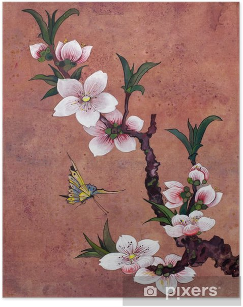 apple blossoming branch Poster - Plants and Flowers