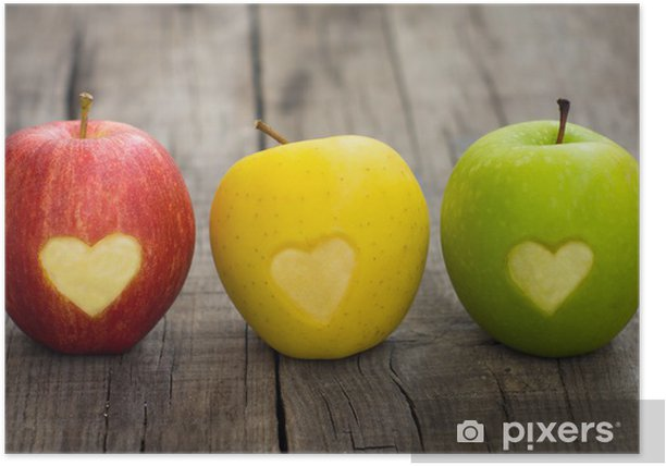 Apples with engraved hearts Poster - iStaging